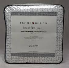 tommy hilfiger geo print lattice down alternative full queen comforter