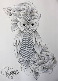 owl and blue rose tattoos drawing in 2017 real photo pictures