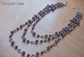 make crystal necklace images How to make a purple three strand necklace my girlish whims jpg