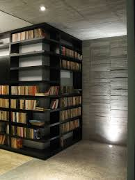 interior modern home library with spiral staircase and wooden