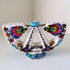 ceramic menorah ceramic menorah flowers hanukkah painted folk by