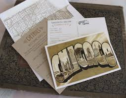 wedding invitations chicago travel postcard wedding invitation chicago illinois