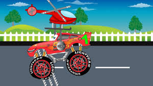 bigfoot presents meteor and the mighty monster trucks learn number with helicopter and mcqueen monster trucks mega