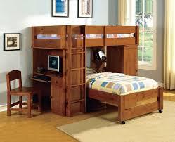 dark walnut bunk bed with computer desk