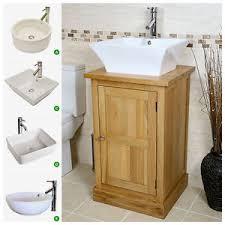 solid oak vanity unit wash stand cabinet basin sink tap bathroom