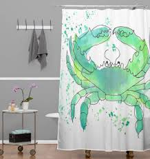 seafoam green crab shower curtain laura trevey home