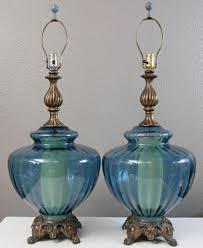 lamps cool turquoise glass lamp base small home decoration ideas