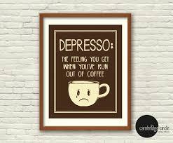 Funny Home Decor Depresso Coffee Cups Coffee Lover Wall Art Home Decor Funny