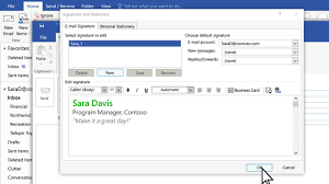 create and add a signature to messages outlook