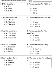 worksheets on contractions enchantedlearning com