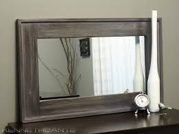 Wood Frames For Bathroom Mirrors Streaky Weathered Rustic Wood Framed Mirror Farmhouse Barn Mantle