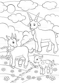 coloring pages farm animals goat family stock vector art 546450224