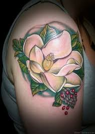 white magnolia tattoo design