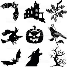 Halloween Vector Images Halloween Vector Icons In Black And White Stock Vector Art