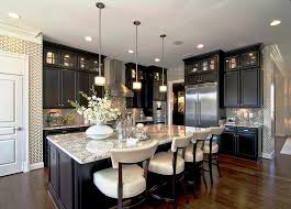 contemporary kitchen with large island and fun wallpaper