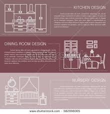 set vector interior design rooms line stock vector 600975785