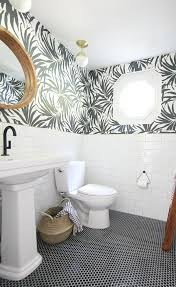 Black And White Wallpaper For Bathrooms - basement bathroom makeover update house of hipsters