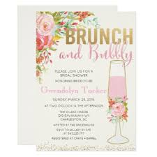 brunch bubbly bridal shower invitation navy gold zazzle