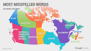 Map Of Canada And Usa by Google Says These Are Canada U0027s Most Misspelled Words Macleans Ca