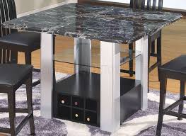 marble top modern 5pc bar table set w wine rack