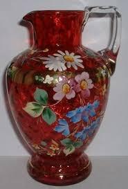 Antique Cranberry Glass Vase Fenton Pitchers Fenton Cranberry Handled 2 Ring Pitcher Hp