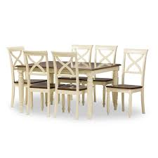 8 pc dining room set baxton studio ashton modern country cottage buttermilk and