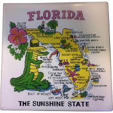 Map Of Fort Myers Florida by Florida Map Souvenir Tile Trivet Ceramic Made In Philippines From