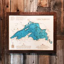 Hummingbird Map Lake Superior 3 D Nautical Wood Map 16