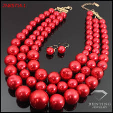 chunky necklace set images Latest design pearl jewelry set handmade multi strand big chunky jpg