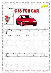 worksheet trace letter c