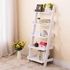 Leaning Ladder Shelf White Wood White 5 Tier Bookshelf Leaning Ladder Wall Shelf Bookcase