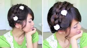 summer milkmaid braided updo hairstyle for medium long hair