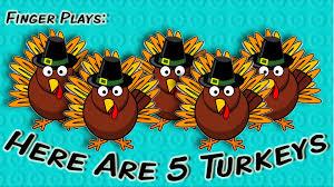 here are 5 turkeys thanksgiving finger play for children