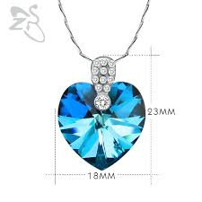 crystal heart pendant necklace images Buy blue ocean heart pendant necklace women cz jpg