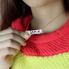 Rose Gold Name Necklace Block Letter Name Necklace Rose Gold