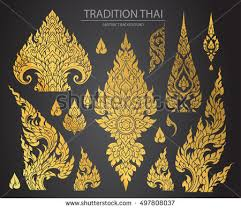 set of thai element decorative motifs ethnic icon