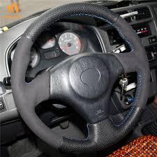 toyota rav4 steering wheel cover aliexpress com buy mewant black genuine leather suede car