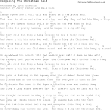 christmas carol song lyrics with chords for dingaling the