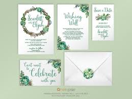 wedding invitation stationery succulent woodland boho printable diy wedding invitation