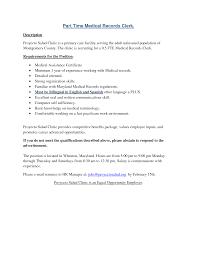 Clerk Job Description Resume by Medical Records Job Description Resume Best Free Resume Collection