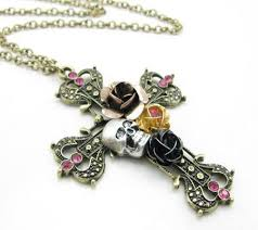cross with rose necklace images New ethnic antique luxury big stone pendant necklace costume jpg