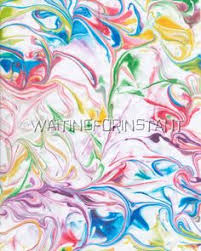 marbled paper using shaving cream and food coloring attempted