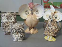 vintage lot of 4 sea shell decorated owl figurines beach decor