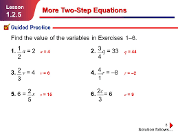 solving two step equations practice 1 tessshlo