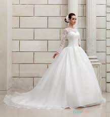 Long Sleeve Wedding Dresses Princess Ball Gown Lace Patterns Illusion Neck Long Sleeved