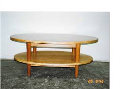 double decker oval coffee table in cherry wood furniture
