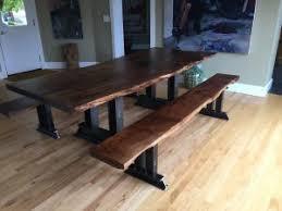 Walnut Live Edge Table by 8 U0027x40 U2033 Custom Black Walnut Live Edge Slab Table Top And Benches