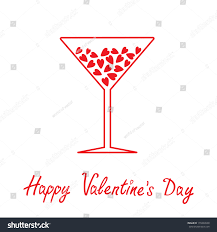 martini eyeball martini glass hearts inside happy valentines stock vector