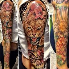 collection of 25 wildlife colorful flowers half sleeve tattoos