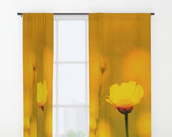 Yellow And Grey Window Curtains Yellow Curtains Etsy
